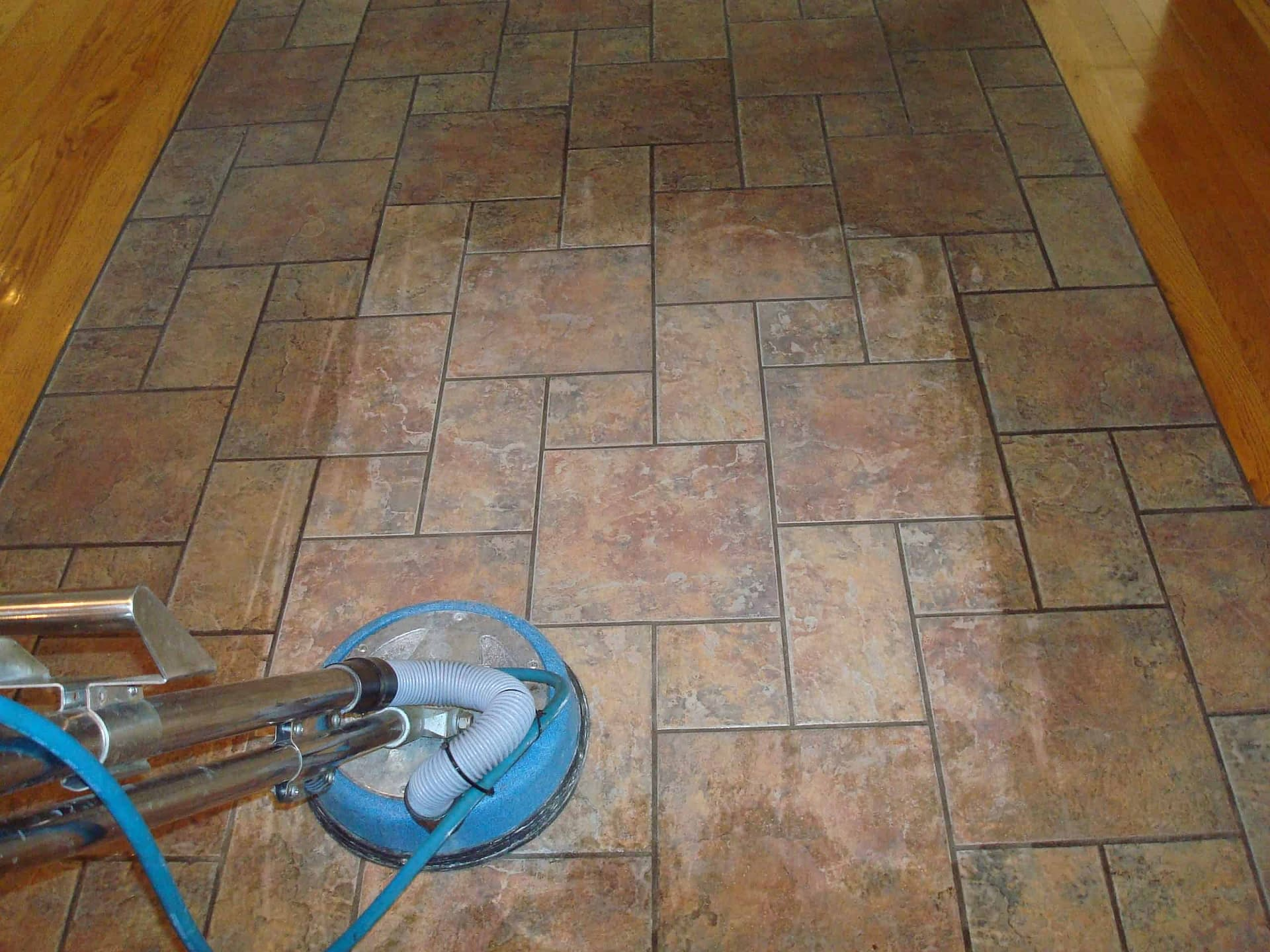 Clean hallway tile and grout in Bucks County, PA