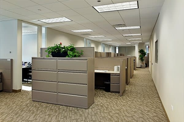 filing cabinets and cubicles on brown office carpet