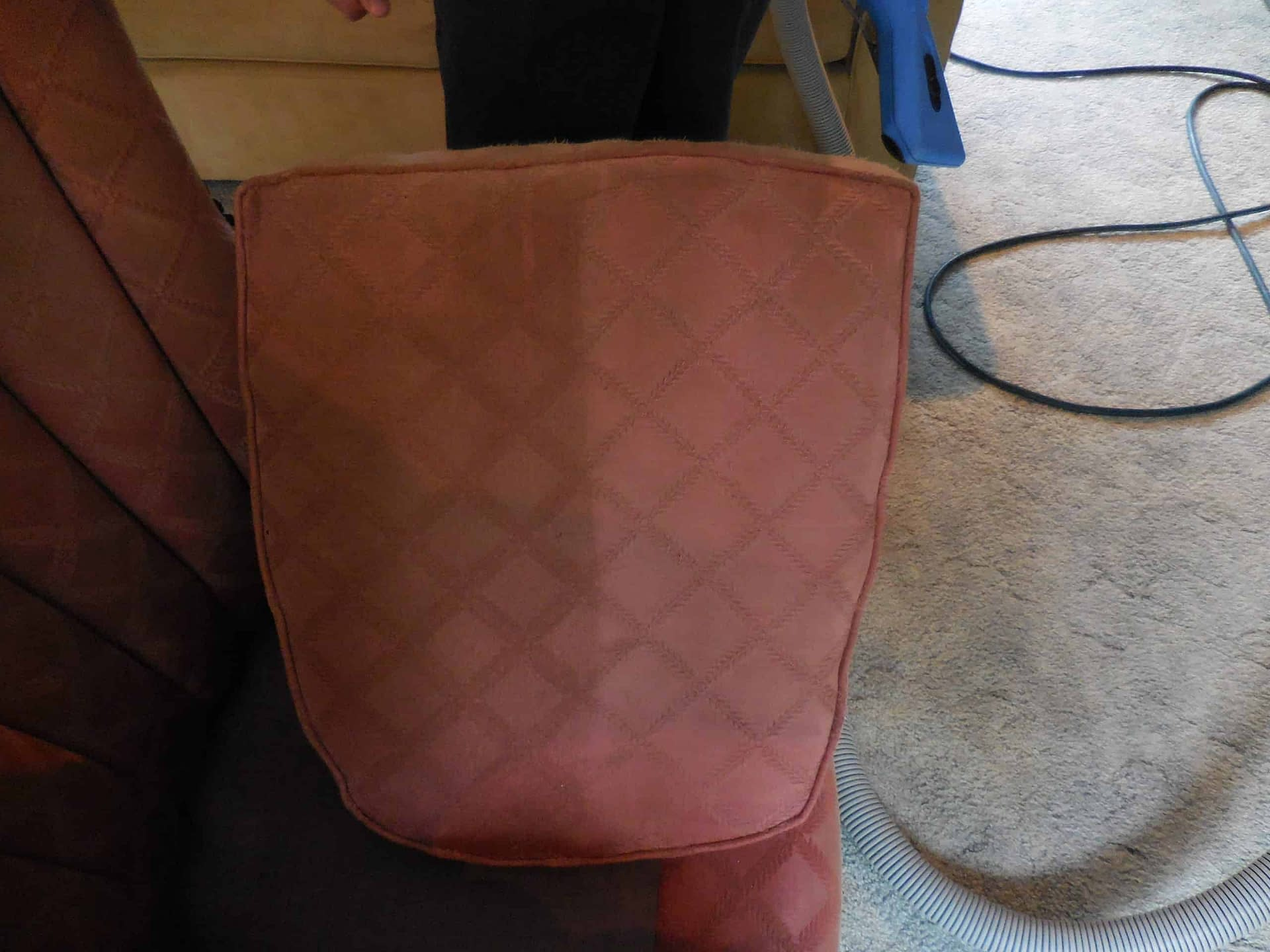 Red cushion cleaned in Furlong, PA