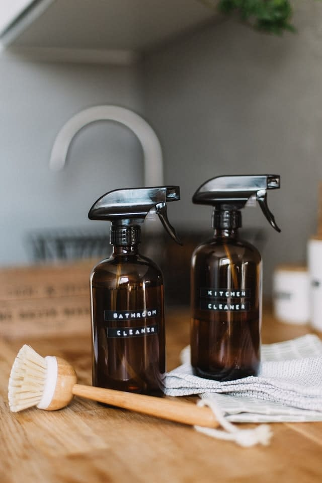 Two bottles of homemade natural cleaning products