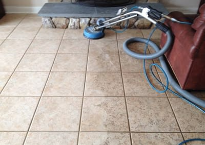 Family room tile cleaned in Doylestown, PA