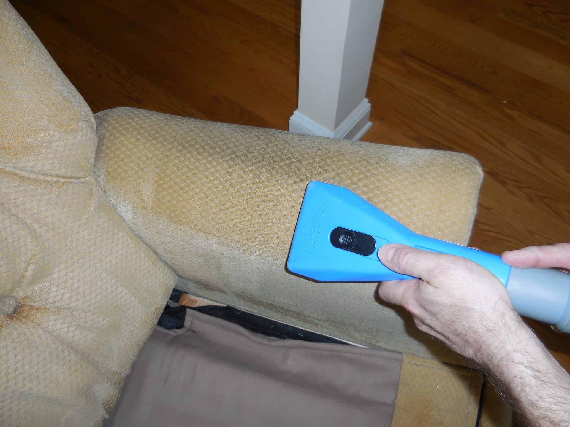 Sofa upholstery arm cleaned in Chalfont, PA
