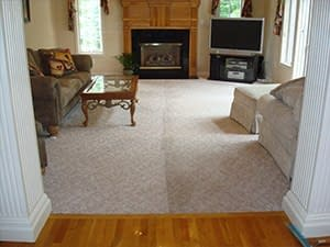 before and after carpet cleaning family room