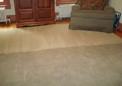 Half of carpet cleaned in Doylestown, Pa