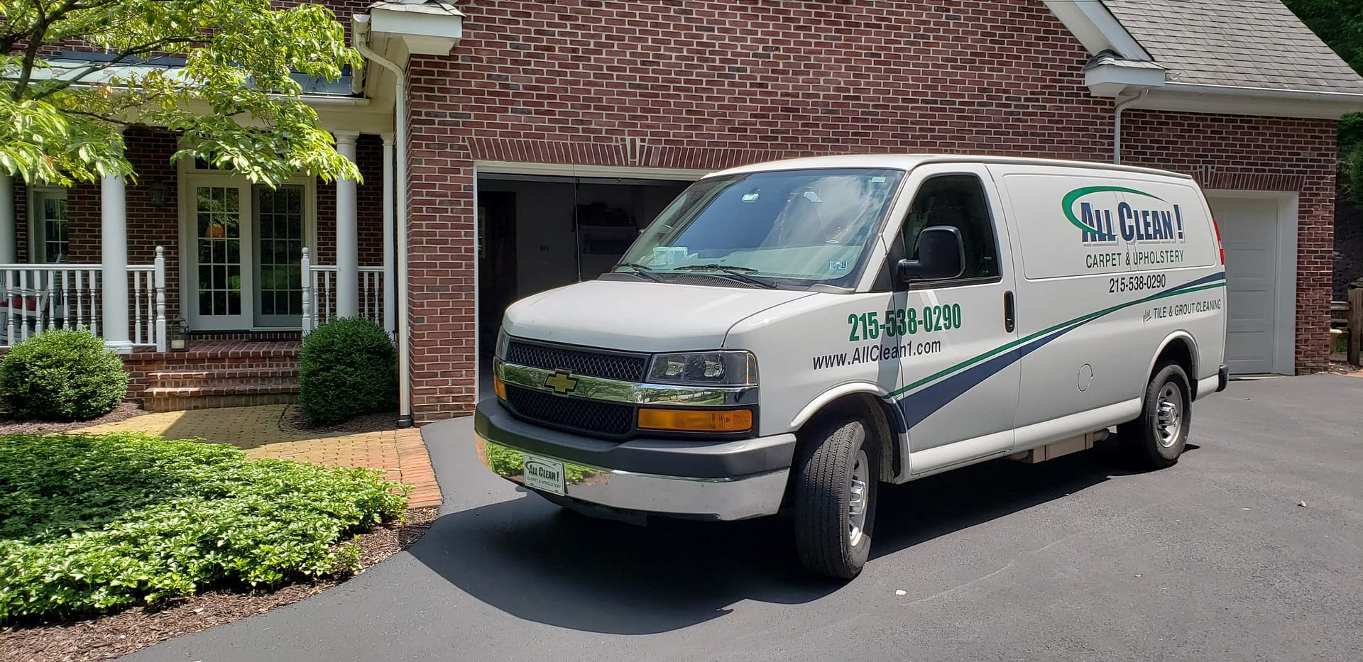 Carpet Cleaning Van Outside of Customer's Home