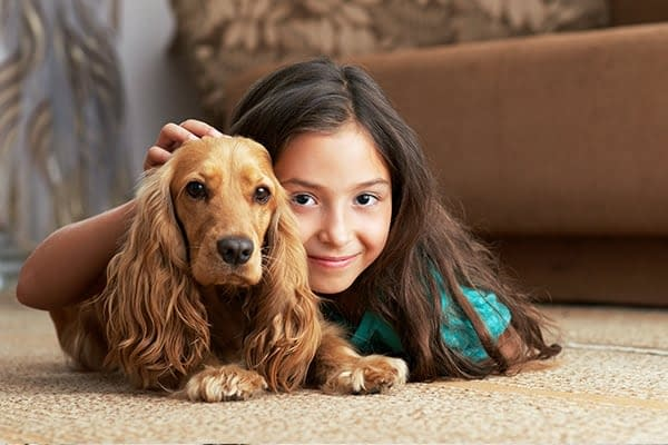 girl and dog on smelly carpet