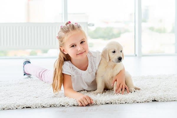 girl and puppy on clean rug