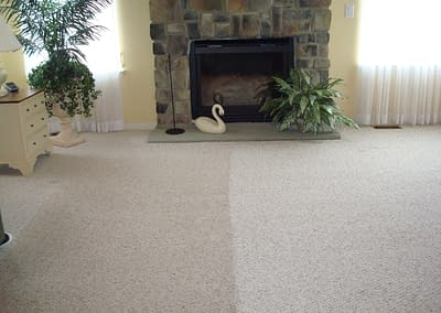 Family room carpet cleaned in Sellersville, PA